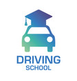 logo on the theme of driving school car vector image vector image