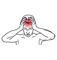 man suffers from headache migraine person vector image vector image