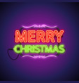 merry christmas neon sign on purple vector image vector image