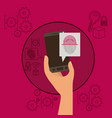 mobile security with hand holding smartphone and vector image