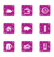 mortgage icons set grunge style vector image vector image