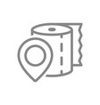 paper towels and location sign line icon vector image