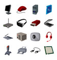 personal computer accessories set icons in cartoon vector image