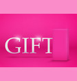 pink gift box on pink background vector image vector image