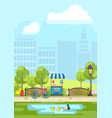 pond and benches in city park vector image