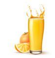 realistic orange juice glass orange fruit slice vector image