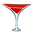 red cocktail on white background vector image vector image