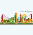 san francisco skyline with color buildings and vector image vector image