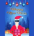 santa claus wear digital virtual reality glasses vector image