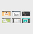 set landing pages website templates in web browser vector image
