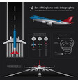 set of airplane with infographic isolated vector image vector image