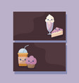 set of delicious ice cream and food kawaii vector image