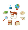 set of school supplies icon and logo isolated vector image vector image