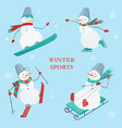 set of snowmen on a blue background with vector image