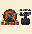 set of vintage colored blacksmith label with anvil vector image vector image