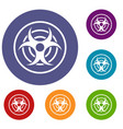 sign of biological threat icons set vector image vector image