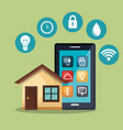 smartphone controlling smart home vector image vector image