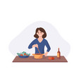 smiling woman cooking on kitchen table wife vector image vector image