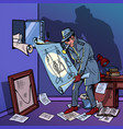 spy hacked safe with secret military documents vector image