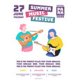 summer music festive party poster cartoon style vector image