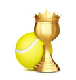 tennis award tennis ball golden cup vector image vector image
