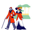 whiskered man and elegant lady characters of vector image