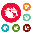 wind on earth icons circle set vector image