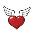 winged heart icon romantic decorative wedding vector image