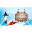 Winter christmas with a sign lantern and a santa vector image vector image