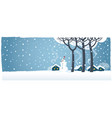 winter rural landscape with snowman and houses vector image vector image
