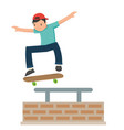 young teenage jumping on his skateboard in flat vector image