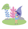 young woman in scene nature isolated icon vector image vector image