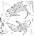 Hand drawn ink pattern Coloring book for adult vector image
