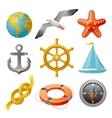 Sailing vacation and navigation elements colorful vector image