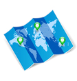 World map with gps marks vector image