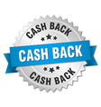 cash back 3d silver badge with blue ribbon vector image