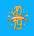 2019 happy new year poster design template vector image