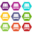 armchair icon set color hexahedron vector image vector image