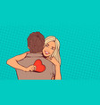 back view of man embracing woman hold heart shaped vector image vector image