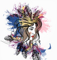 beautiful girl with boho feathers on her head vector image