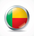 Benin flag button vector image vector image