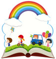 book with happy children playing in park vector image vector image