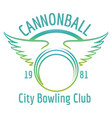 bowling club with winged ball logo vector image vector image