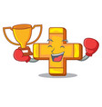 boxing winner plus sign isolated on the mascot vector image