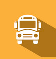 bus school icon with shadow on yellow background vector image