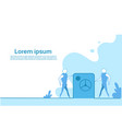 businesspeople stay at big safe with money vector image vector image