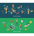 Cardio And Strength Training Isometric Banners vector image vector image