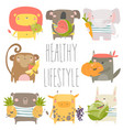 cartoon animals holding fruits and vegetables vector image vector image