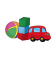 childish toys for boys made of rubber and plastic vector image vector image
