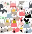 cute colorful celebrated fox cartoon seamless vector image vector image